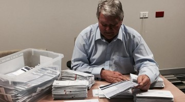Flynn federal Nationals MP Ken O'Dowd counting the returned surveys (Supplied photo)