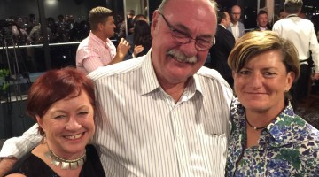 Coalition MP and marriage equality advocate Warren Entsch  with City of Sydney councillor Christine Forster (R) and fiancee Virgina Edwards whose wedding he invited himself to yesterday.