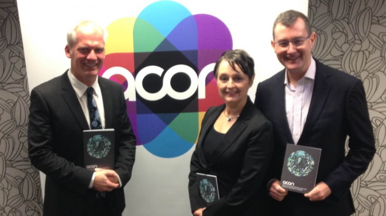 ACON chief executive Nicolas Parkhill; domestic violence prevention minister Pru Goward and ACON president Mark Orr at the launch this morning.