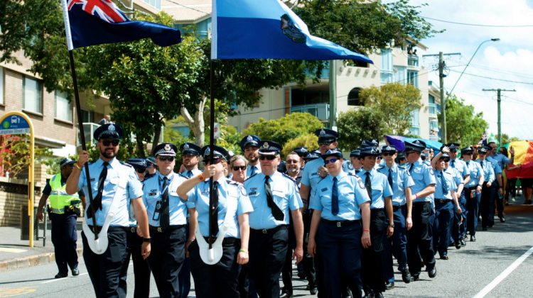 Queensland Police took part in Brisbane Pride parade for the first time ever. (PHOTO: David Alexander; Star Observer)