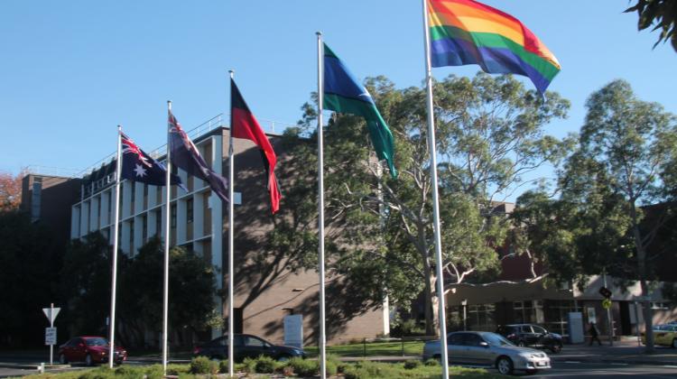 Monash University commemorates IDAHOT with the raising of a rainbow flag. (Supplied photo)