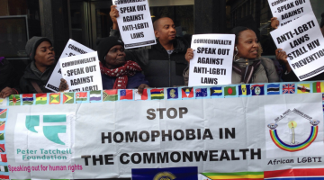 Protestors rally outside the Commonwealth headquarters in London on Thursday ahead of the 2015 CHOGM in Malta. (Photo supplied by the Peter Tatchell Foundation)