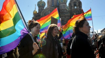 Gay rights activists march in the Russian city of St Petersburg in 2013 (PHOTO: Olga Maltseva; AFP/Getty Images)