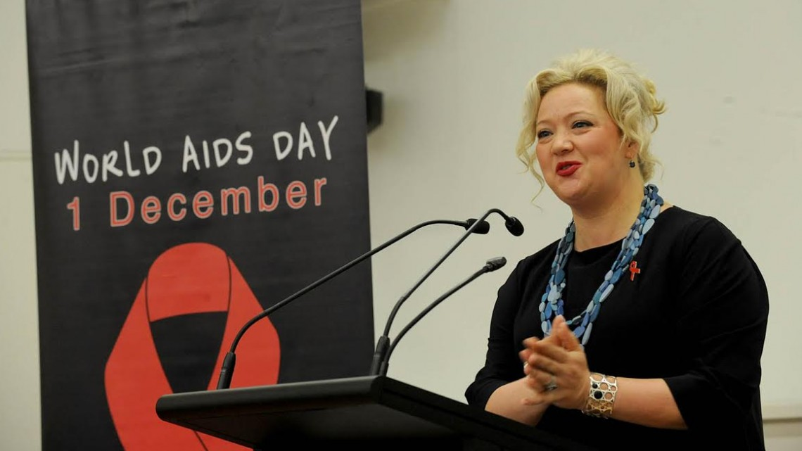 Victorian Health Minister Jill Hennessy at the World AIDS Day conference launch, Doherty Institute, Melbourne. (PHOTO: Andrew Henshaw; Supplied)