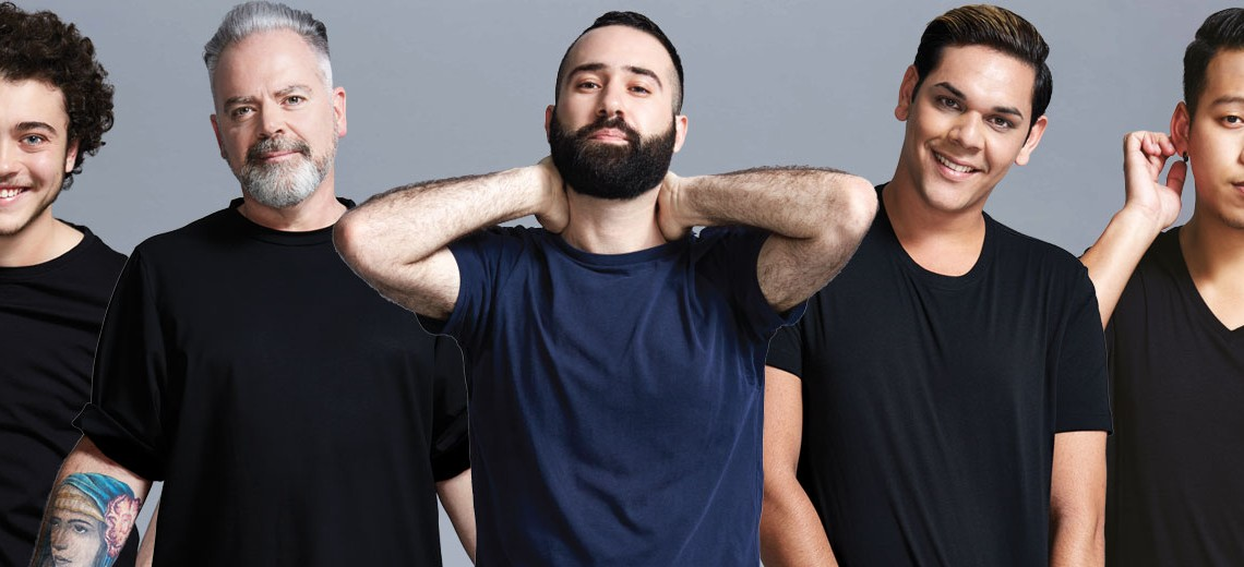 Some of the diverse men to feature in ACON's new Test More campaign.