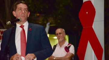 Qld Health Minister Cameron Dick speaking at the 2015 World AIDS Day Vigil in Brisbane. (PHOTO: David Alexander; Star Observer)