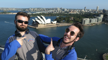 Star Observer editor Elias Jahshan (left) and singer/songwriter Brendan Maclean (right) took part in BridgeClimb in Sydney.