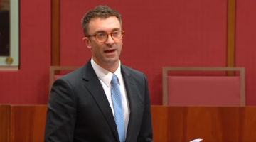 South Australian Greens Senator Robert Simms during his speech in the Senate yesterday. (Image: YouTube)