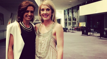Diamonds star Ashleigh Barazill (left) celebrated a civil union to her partner Brooke Grieves (right) last weekend. (Image source: Instagram)
