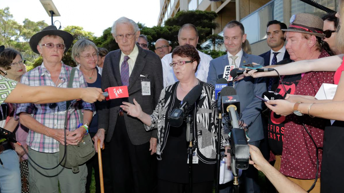 Members of the 78ers, the founders of the Sydney Gay and Lesbian Mardi Gras, address the media outside NSW Parliament following the apology. (PHOTO: Ann-Marie Calilhanna; Star Observer)