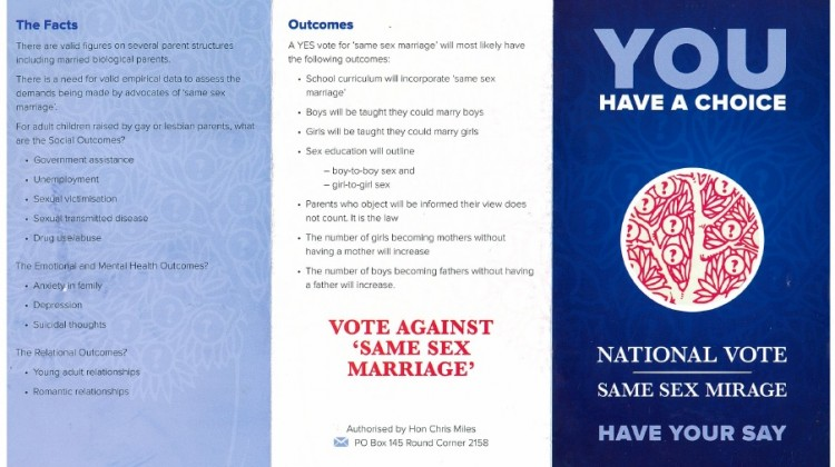 Anti-Marriage Equality Pamphlet. Source: Fairfax Media.