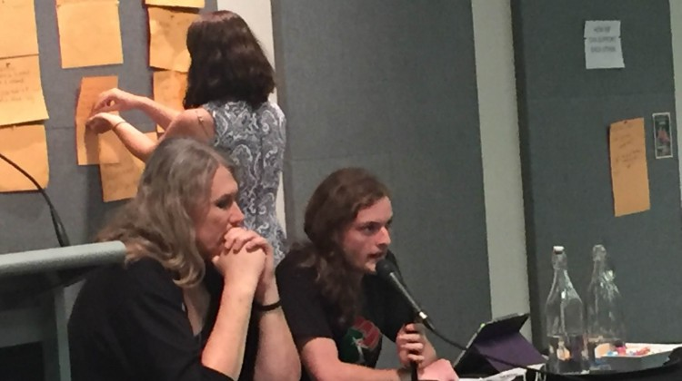 Stephanie McCarthy and April Holcombe moderated the community response in Sydney. Photo: Shannon Power