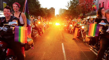 Dykes on Bikes rev up the crowd at the start of the 2016 Sydney Gay and Lesbian Mardi Gras Parade. (PHOTO: Ann-Marie Calilhanna; Star Observer)