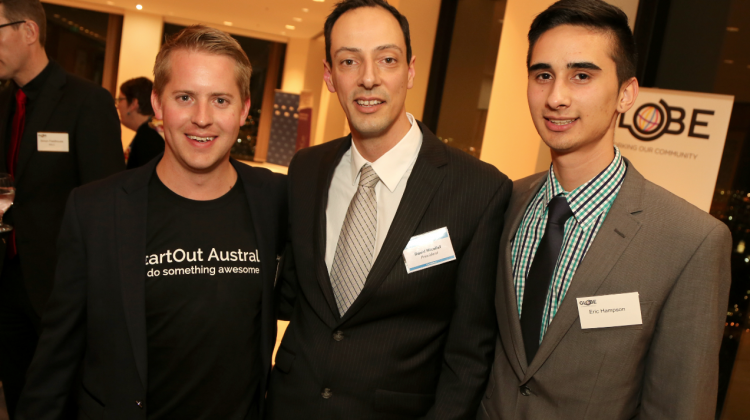 David Micallef (centre) at a recent GLOBE Blended Fruits event. (PHOTO: Ari Neubauer; Star Observer)