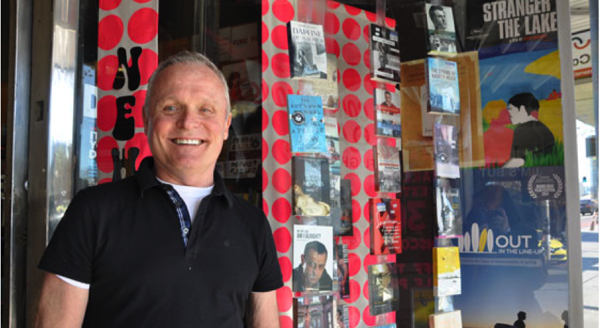 Les McDonald at the entrance of The Bookshop Darlinghurst. (Photo: Supplied)