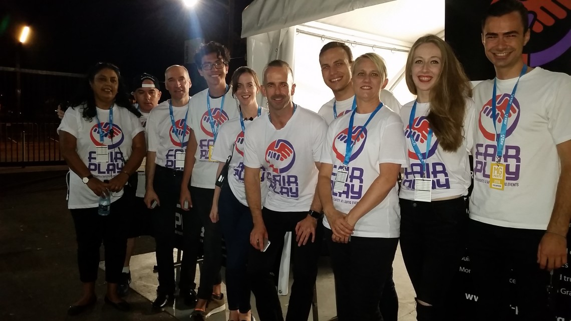 Fair Play volunteers at the 2016 Mardi Gras party. Photo: Supplied
