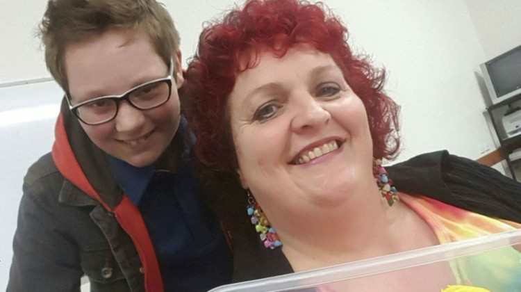 Gavin with mum Sandy Walker at the inaugural meeting of the South Burnett Gender Alliance Group last October/Supplied