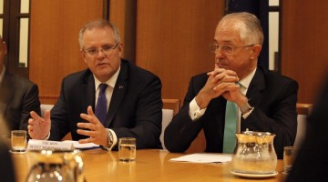 Treasurer Scott Morrison with Prime Minister Malcolm Turnbull. Picture: Facebook
