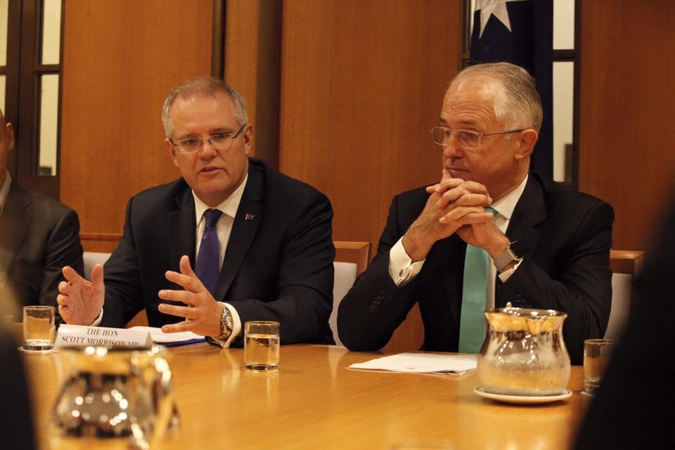 Treasurer Scott Morrison with Prime Minister Malcolm Turnbull. Picture: Facebook