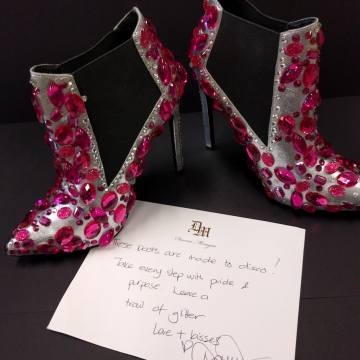 Danni Minogue's shoes donated to Bobby Goldsmith. Photo: Supplied