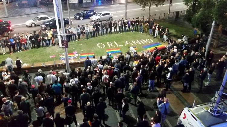 Sydney's vigil at Taylor Square for the victims in Orlando. Photo: Ann-Marie Calilhanna