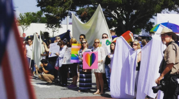 LGBTI supporters block the Westboro Baptist Church. Picture: @lhenley13/Instagram