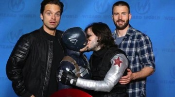 Sebastian Stan and Chris Evans are photographed with a kissing couple dressed as their Captain America characters.