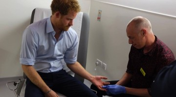 Prince Harry getting a HIV test in London. Photo: Facebook via Royal Family