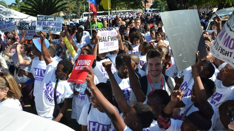 Attendees march at the 2016 AIDS Conference. Picture: Benjamin Riley