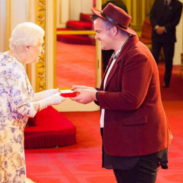 Queen Elizabeth II meets Jacob Thomas at Buckingham Palace. Picture: Instagram