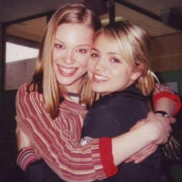 Bridget and Steph hug in the Neighbours green room. Picture: Bridget Phillips