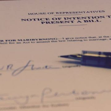 The private member's bill to amend the Marriage Act signed by Bill Shorten and Tanya Plibersek. Photo: Facebook