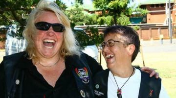 Manda Hatter (L) and Lyn Doherty, outgoing and the new president of Dykes on Bikes. Photo: Supplied