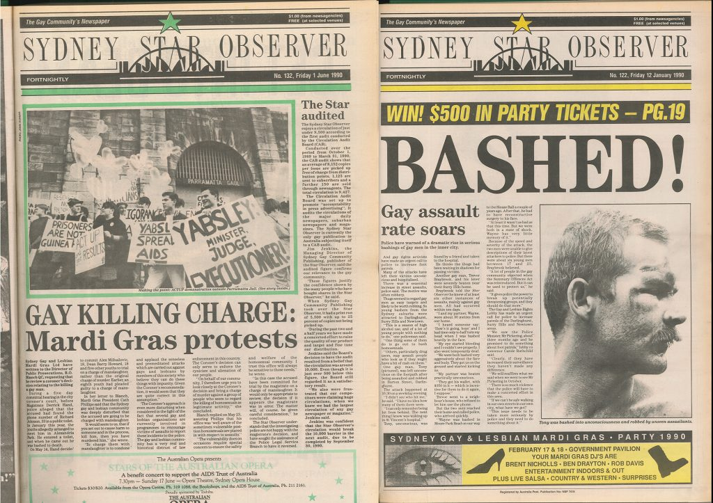 Some of the Star Observer's covers from the time of the bashings and murders