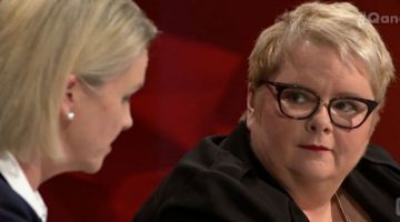 Magda Szubanski on ABC's Q&A listening to Senator Fiona Nash. Photo: ABC
