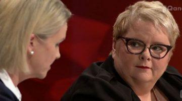 Magda Szubanski on ABC's Q&A listening to Senator Fiona Nash. Photo: ABC