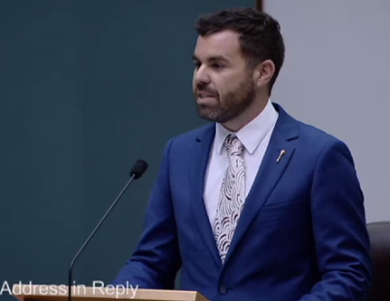 Chansey Paech in NT Parliament delivering his maiden speech.