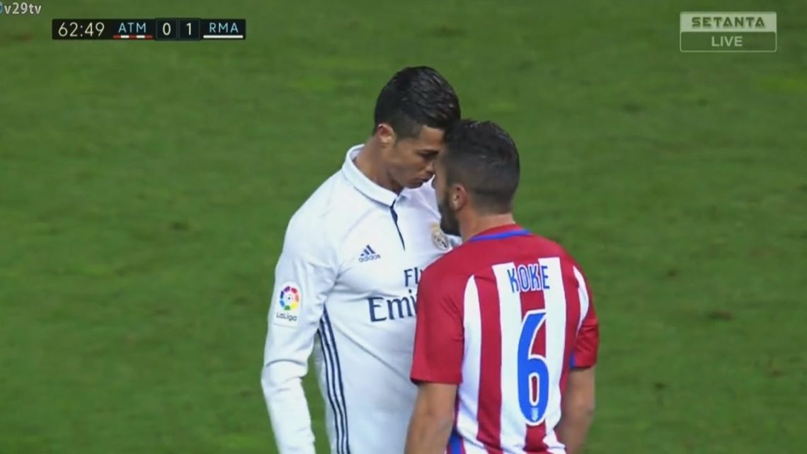 Cristiano Ronaldo faces off against Atletico Madrid's Koke. Photo: YouTube