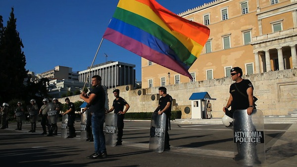 A protestor outside of Greece's parliament in Athens. Photo: Via www.greekreporter.com