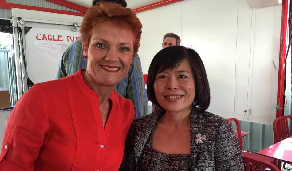 One Nation party founder Pauline Hanson poses with Shan Ju Lin. Picture: Facebook