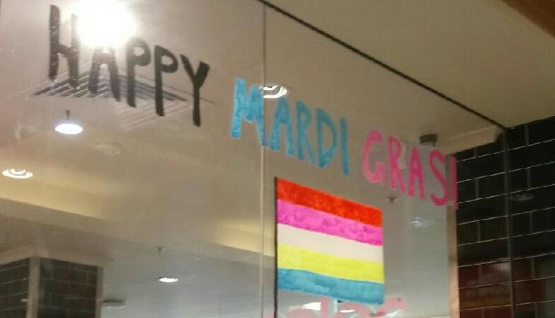 The new Mardi Gras window display.